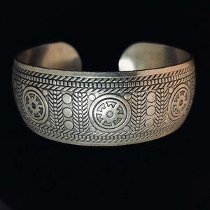 Tibetan cuff bracelet patterned average wrist